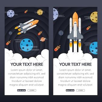Projeto da bandeira do foguete e do espaço