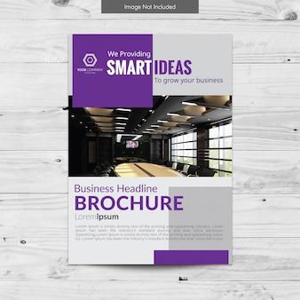 Projeto de brochura de negócios cinza e roxo