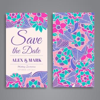 Projeto de cartão floral colorido do casamento