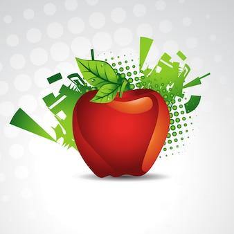 Projeto de fundo de fruta de maçã de vetor