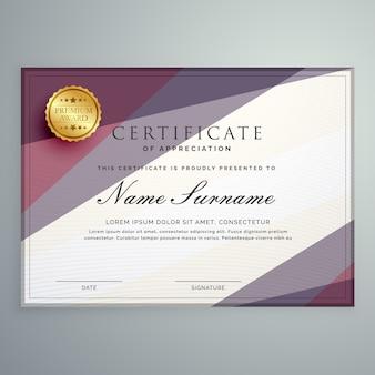 Projeto de modelo de certificado vetorial moderno com forma geométrica roxa