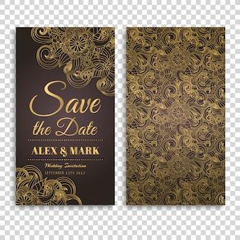Projeto do cartão de casamento de Brown e de ouro