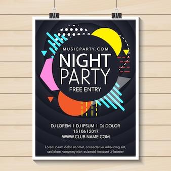 Projeto do cartaz do partido da noite
