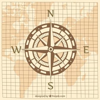 Projeto do compasso no mapa do mundo