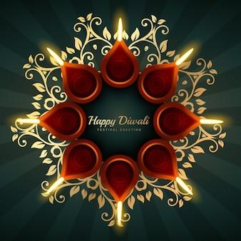 Projeto do cumprimento do vetor diwali com ornamentos florais