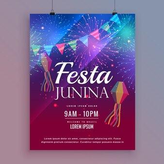 Projeto do flyin festa junina com fogos de artifício