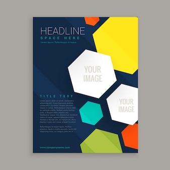 Projeto do folheto do negócio com formas hexagonais coloridos