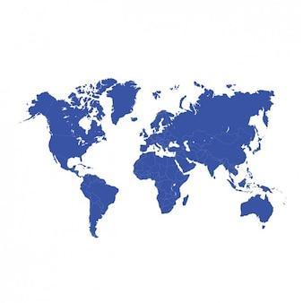 Projeto do mapa de mundo azul