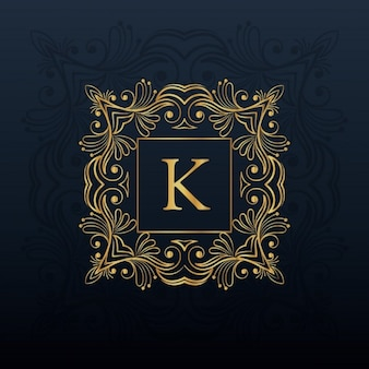 Projeto do monograma floral clássico para letra logo K