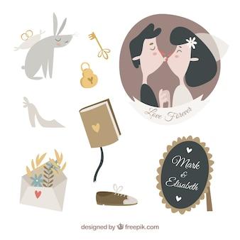 Projeto dos desenhos animados dos elementos do casamento