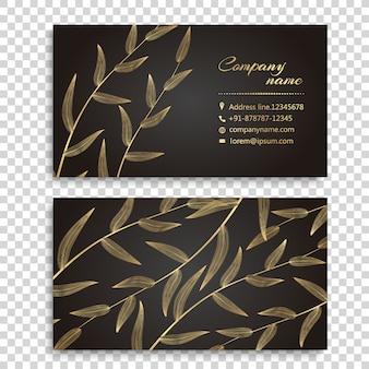 Projeto dourado do cartão das folhas
