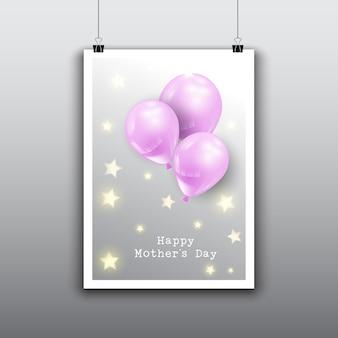 Projeto feliz do cartão do dia das mães com balões cor de rosa