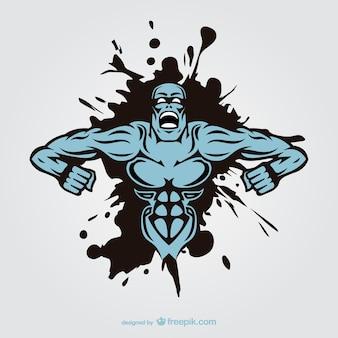 Projeto homem monstro muscular tatuagem
