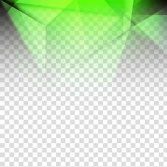Projeto poligonal verde brilhante abstrato em fundo transparente