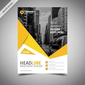 Projeto preto e amarelo do folheto do negócio