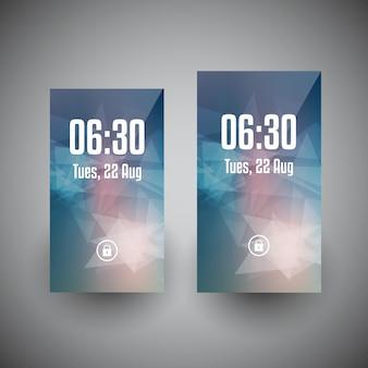 Projetos de papel de parede de smartphone em dois tamanhos de tela diferentes