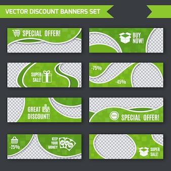 Promoção de desconto Publicidade banners de papel verde conjunto ilustração vetorial isolada