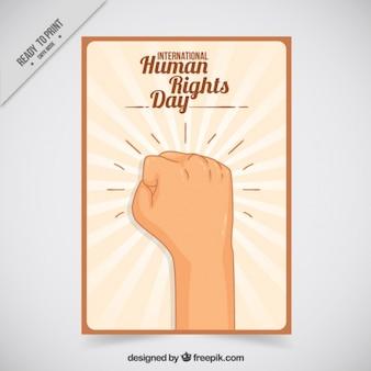 Punho direitos humanos cartão levantada