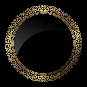 Quadro circular decorativa em cores ouro metálico