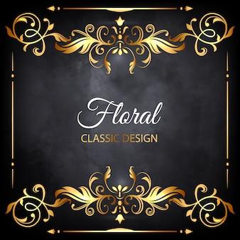 Quadro de luxo floral dourado