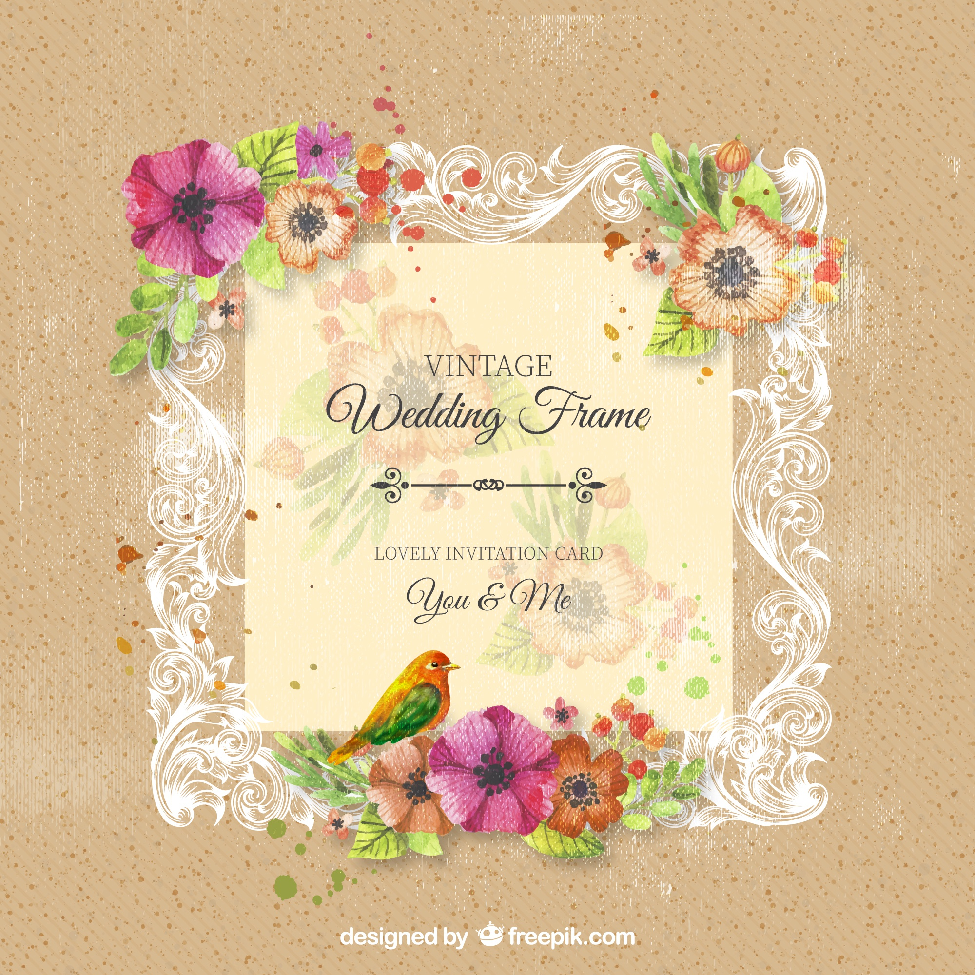 Quadro do casamento ornamental do vintage com flores