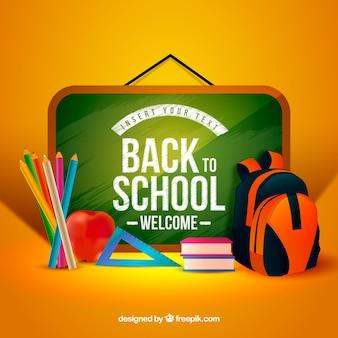 Quadro-negro, mochila, lápis, livros e maçã