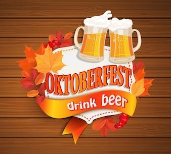 Quadro vintage da Octoberfest com cerveja.
