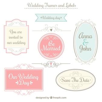 Quadros de casamento e etiquetas