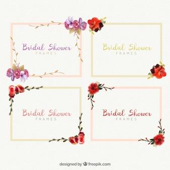 Quadros nupcial do chuveiro com flores da aguarela