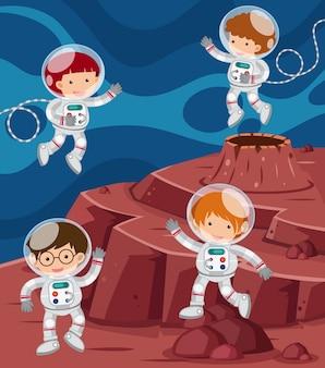 Quatro astronautas voando no espaço