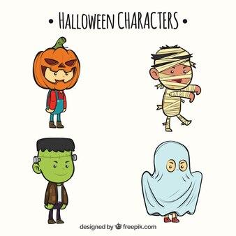 Quatro bonitos personagens desenhados a mão no Dia das Bruxas