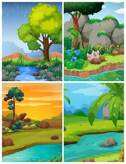 Quatro cenas de floresta com rios