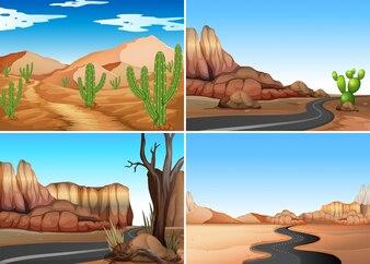 Quatro cenas do deserto com estradas vazias