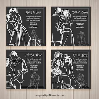 Quatro convites de casamento estilo esboço