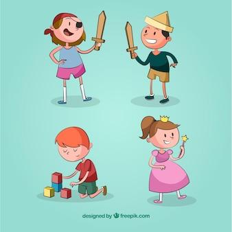 Quatro crianças brincam e se divertem