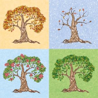 Quatro estações, verão, outono, inverno, primavera, árvore, papel de parede, ilustração vetorial