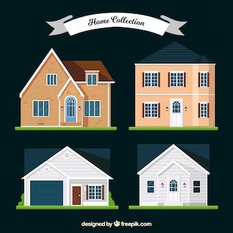 Quatro fachadas de casas modernas em design plano