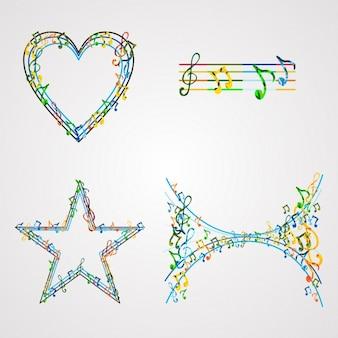 Quatro formas bonitas com notas musicais