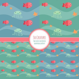 Quatro padrões com animais do oceano