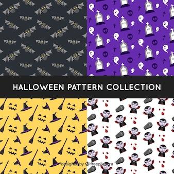 Quatro padrões de Halloween com elementos