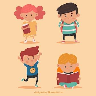 Quatro personagens de crianças