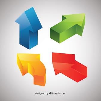 Quatro setas tridimensionais cor