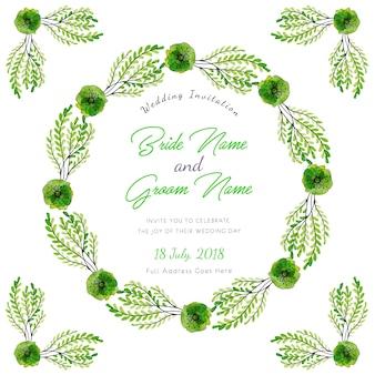 """""""Cartão floral do convite do casamento da aguarela verde"""""""