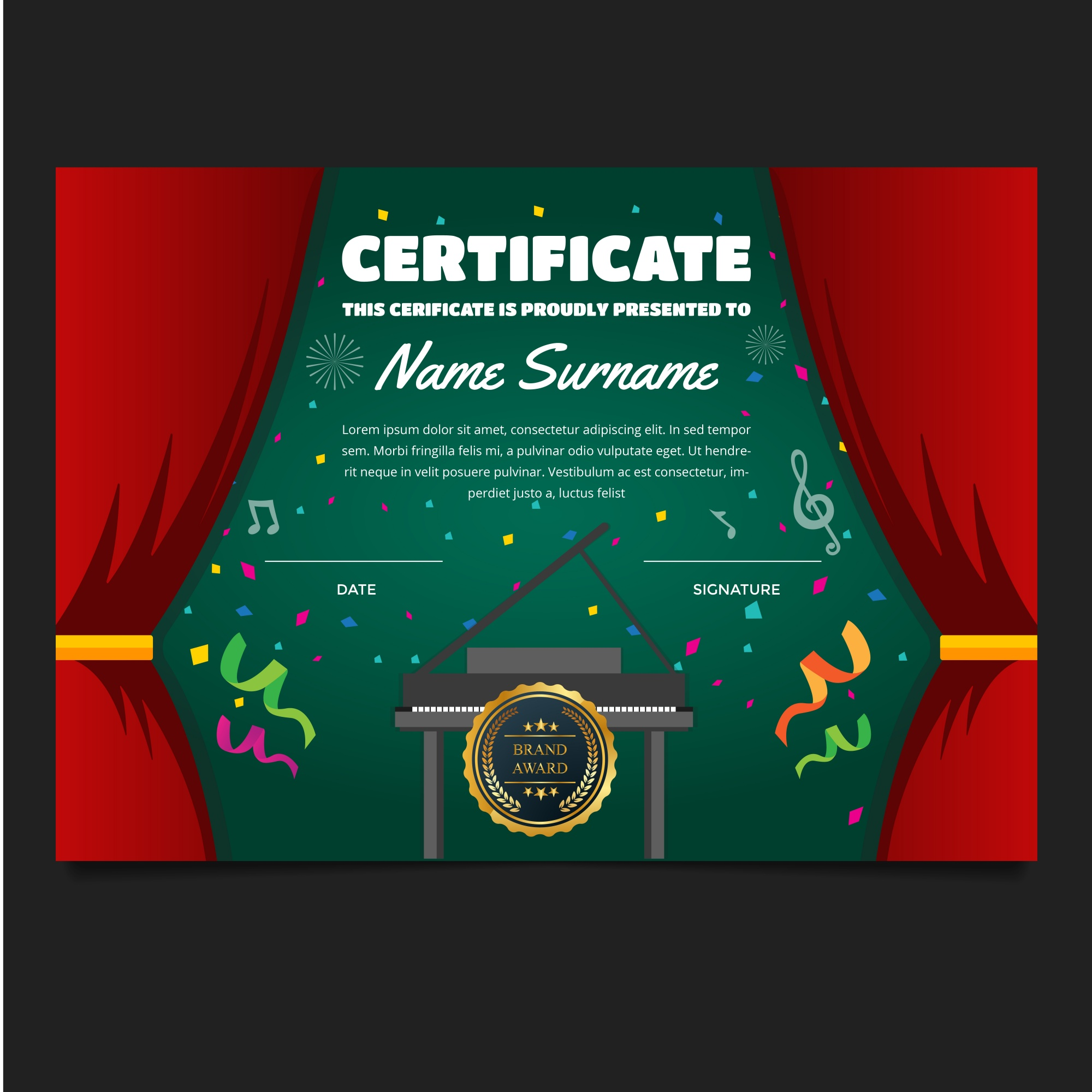 """Cute Children Music Certificate"""