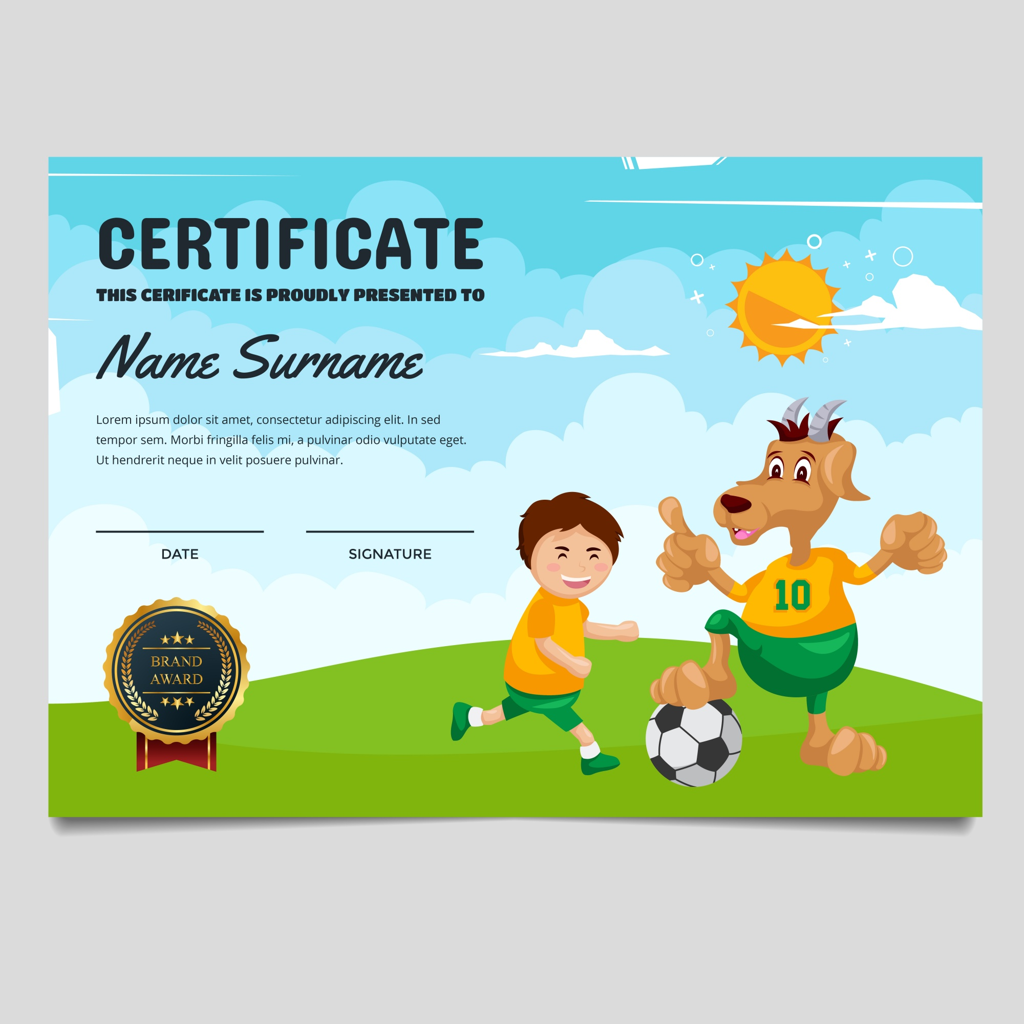 """Cute Children Soccer Certificate"""