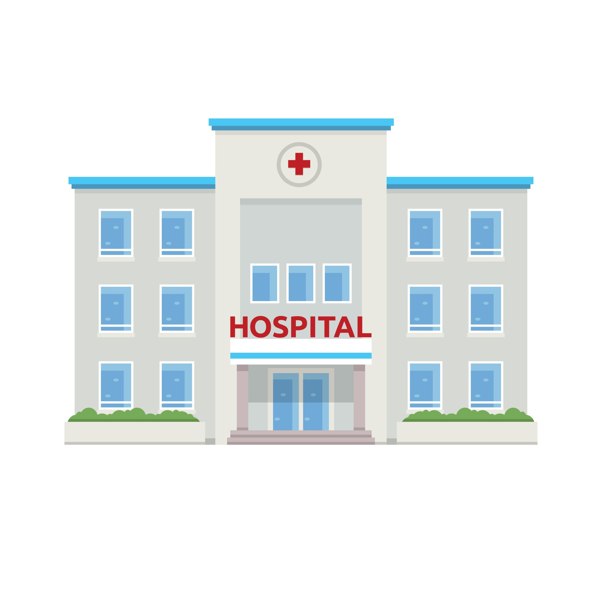 """Flat Hospital Building Illustration"""