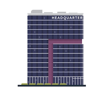 """Flat Modern Office Building Illustration"""