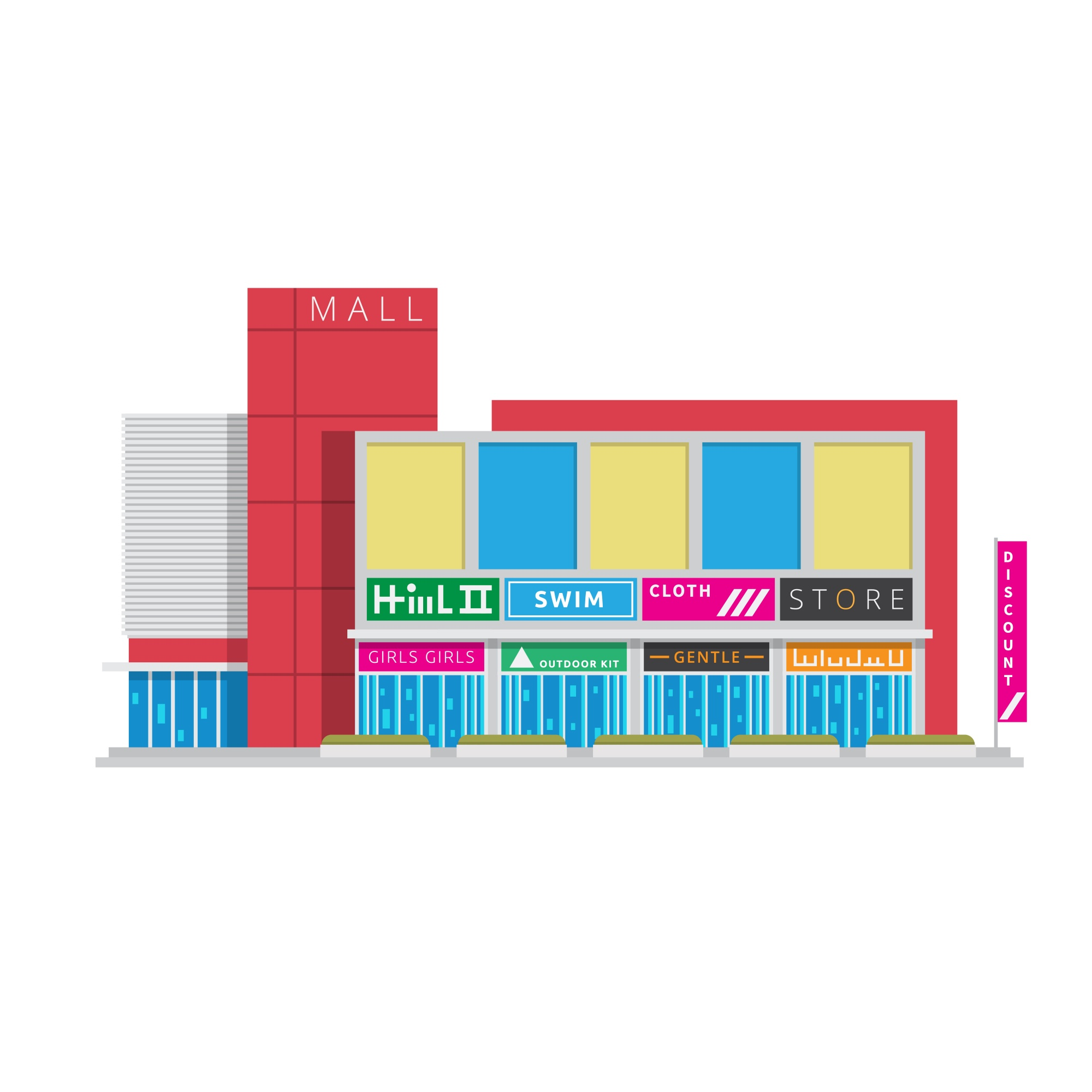 """Flat Shopping Center Building Illustration"""