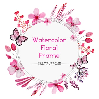 """""""Moldura floral rosa de aquarela"""""""