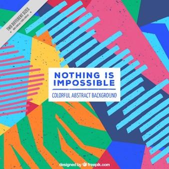 """""""Nada é impossível"""" frase sobre um fundo Memphis"""